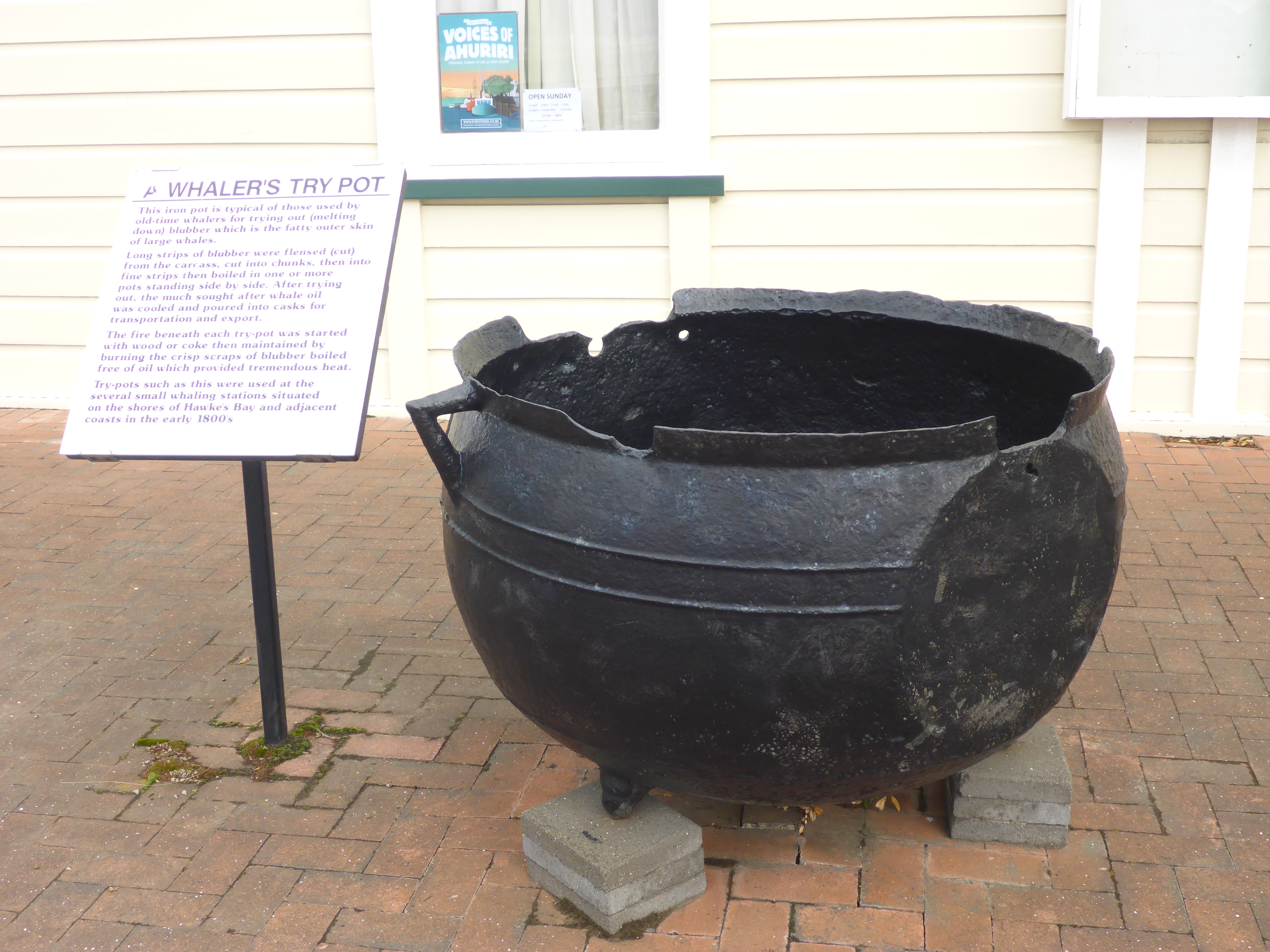A whales pot used in the 1800s to melt down blubber to recover much sought after whale oil
